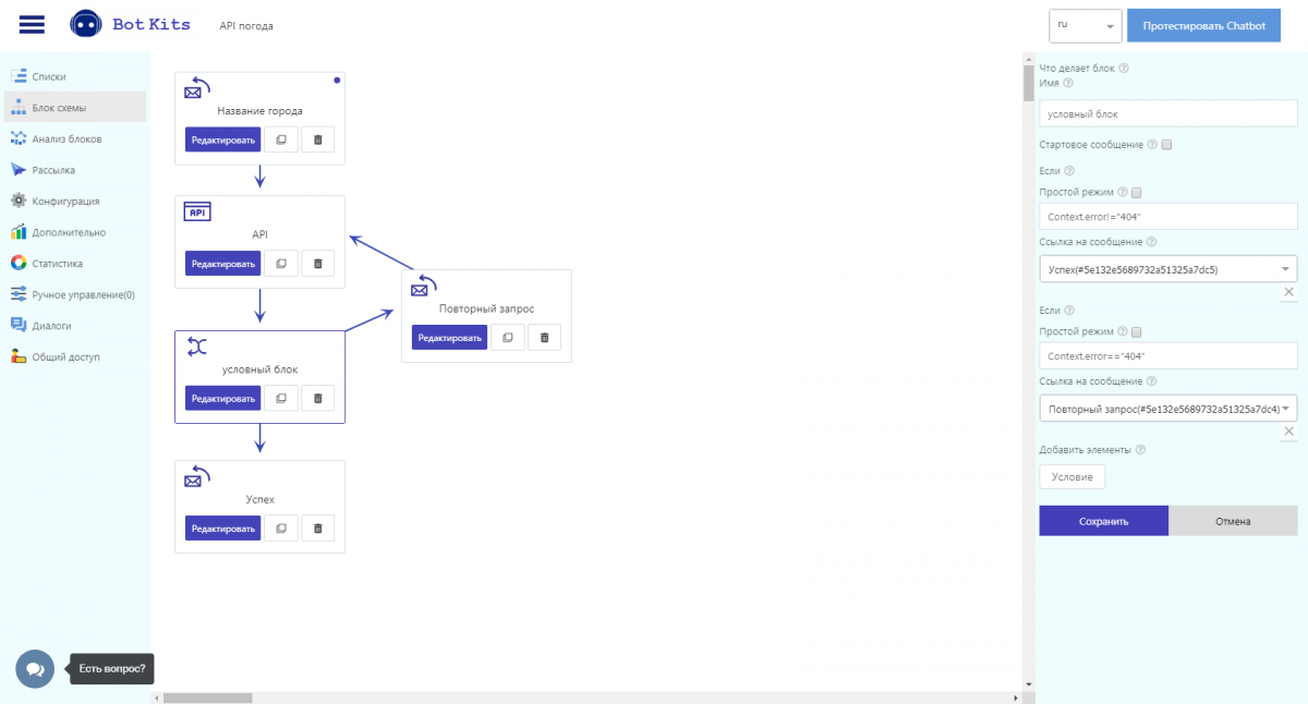Блок API 6