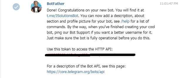 подключение бота telegram